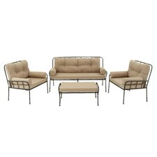 Herry Up Metal and Fabric 4 Piece Deep Sitting Group with Cushions