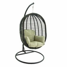 Metal and Polyethylene Rattan Swing Chair with Stand