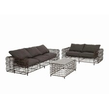Metal and Vinyl 3 Piece Sofa Seating Group with Cushion