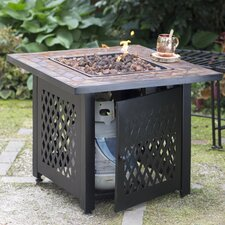 Propane Gas Fire Pit Table with Tile Mantel