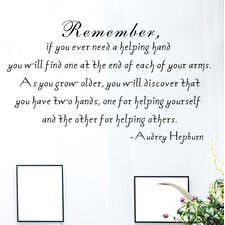 If You Ever Need a Helping Hand- Audrey Hepburn Wall Decal