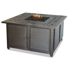 Gas Firebowl With Slate Tile Mantel Fireplace