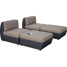 Seattle 4 Piece Chaise Lounge Set with Cushion