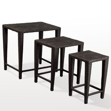 Amelius 3 Piece Wicker Nesting Table Set