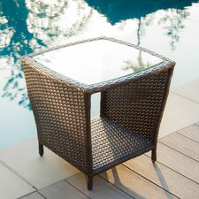 No Copoun Austral Outdoor Wicker Side Table with Glass Top
