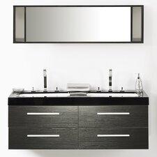 amey quot double bathroom vanity set with mirror: 55 inch double sink bathroom vanity