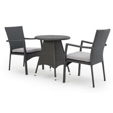 Babin Outdoor Wicker 3 Piece Bistro Set with Cushion