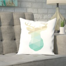 Brockman Gold Mint Deer Up To Outdoor Throw Pillow