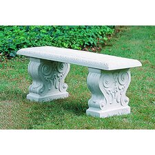 Traditional Straight Cast Stone Garden Bench