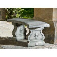 Fleur De Lis Curved Cast Stone Garden Bench