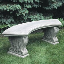 No Copoun Curved Woodland Ferns Cast Stone Garden Bench