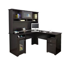 Hillsdale L-Shape Computer Desk with Hutch