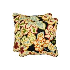 Burr Flower Toss Outdoor Throw Pillow (Set of 2)
