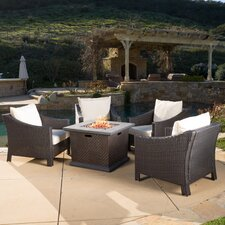 Top Reviews Aqueduct 5 Piece Conversation Set with Fire Pit