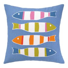 Cool Picket Fish Indoor/Outdoor Throw Pillow
