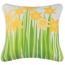 Daffodil Outdoor Cotton Throw Pillow