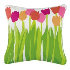 Tulips Outdoor Cotton Throw Pillow