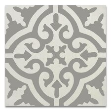 """Argana 8"""" x 8"""" Handmade Cement Tile in Gray and White"""