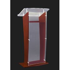"Clear ""H"" Style Acrylic with Wood Sides and Floor Panel Lectern"