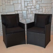 Wicker Chairs with Cushions (Set of 4)