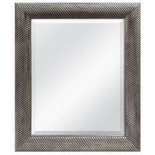 Antique Silver Woven Beveled Mirror