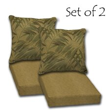 2 Piece Boca Grande Texture and Palm Outdoor Deep Seat Reversible Cushion Set (Set of 2)