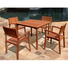 #1 5 Piece Outdoor Wood Dining Set