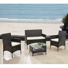 4 Piece Patio Deep Seating Group with Cushions