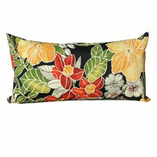 Black Floral Outdoor Lumbar Pillows Rectangle 11x22 (Set of 2) (Set of 2)