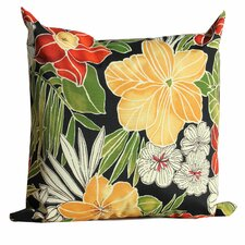 Black Floral Outdoor Throw Pillows Square 18x18 (Set of 2) (Set of 2)