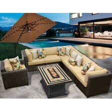 Venice 8 Piece Fire Pit Seating Group with Cushion