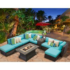 Venice 10 Piece Fire Pit Seating Group with Cushion