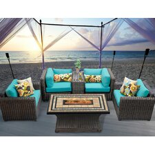 Venice 6 Piece Fire Pit Seating Group with Cushion