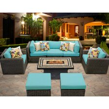 Comparison Venice 8 Piece Fire Pit Seating Group with Cushion