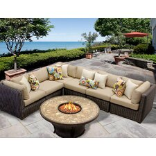 Venice 7 Piece Fire Pit Seating Group with Cushion