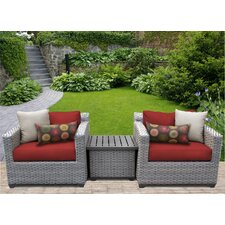 Florence 3 Piece Lounge Seating Group Set with Cushion