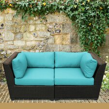 Barbados 2 Piece Outdoor Wicker Patio Lounge Seating Group with Cushion