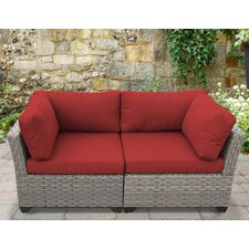Monterey 2 Piece Outdoor Wicker Patio Lounge Seating Group with Cushion