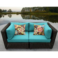 Venice 2 Piece Outdoor Wicker Patio Lounge Seating Group with Cushion