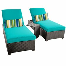 Classic 3 Piece Chaise Lounge Set with Cushion