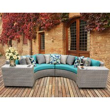 Florence Outdoor Wicker 4 Piece Deep Seating Group with Cushion