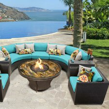 Barbados Outdoor Wicker 8 Piece Deep Seating Group with Cushion