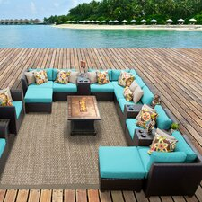 Barbados Outdoor Wicker 17 Piece Deep Seating Group with Cushion