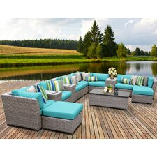Florence Outdoor Wicker 14 Piece Deep Seating Group with Cushion