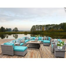 Florence Outdoor Wicker 17 Piece Deep Seating Group with Cushion