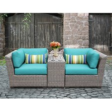 Florence Outdoor Wicker 3 Piece Deep Seating Group with Cushion