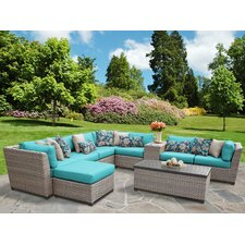 Florence Outdoor Wicker 10 Piece Deep Seating Group with Cushion