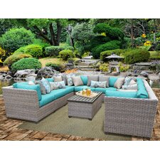 2017 Coupon Florence Outdoor Wicker 11 Piece Deep Seating Group with Cushion