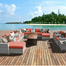 Wonderful Fairmont Outdoor Wicker 17 Piece Deep Seating Group with Cushion