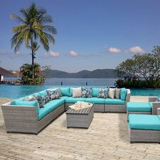 Florence Outdoor Wicker 13 Piece Deep Seating Group with Cushion